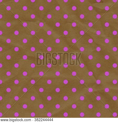 Pink Dots On Brown Wrinkled Paper 12x12 Design Background Is Great For Projects, Scrapbooking, Backg