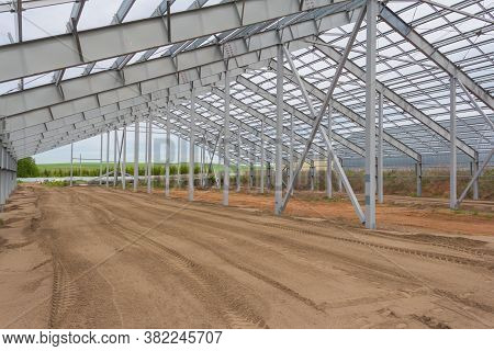 Construction Steel Frame Of The New Duilding. Construction Of The Main Frame Of The Building. Agricu