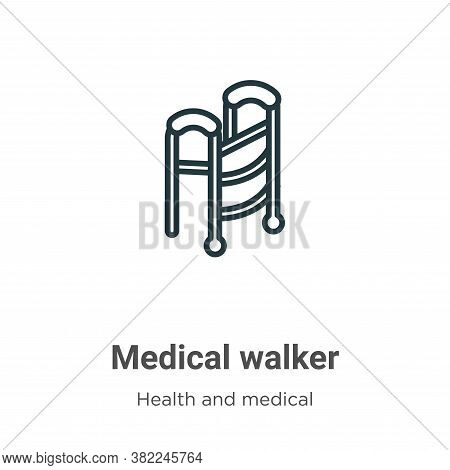 Medical walker icon isolated on white background from health and medical collection. Medical walker