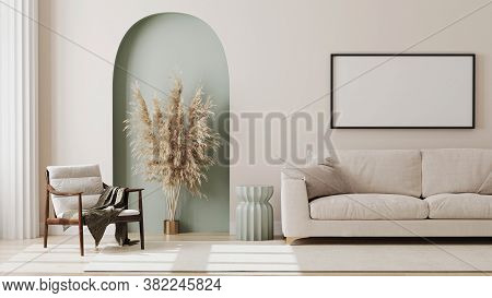 Empty Picture Frame On Beige Wall In Living Room Interior With Modern Furniture And Decorative Green