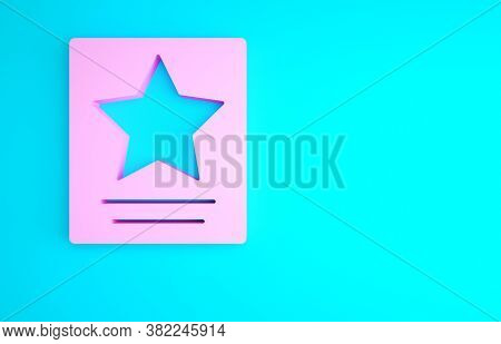 Pink Hollywood Walk Of Fame Star On Celebrity Boulevard Icon Isolated On Blue Background. Famous Sid