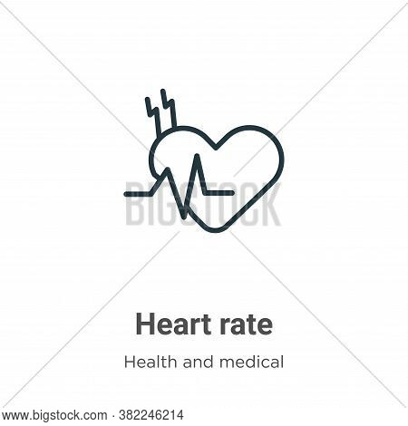 Heart rate icon isolated on white background from health and medical collection. Heart rate icon tre