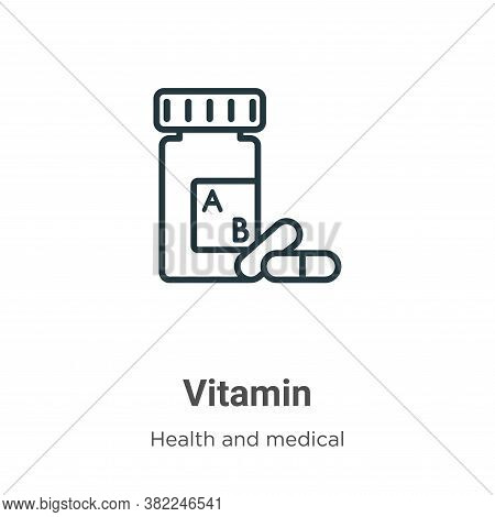 Vitamin icon isolated on white background from health and medical collection. Vitamin icon trendy an
