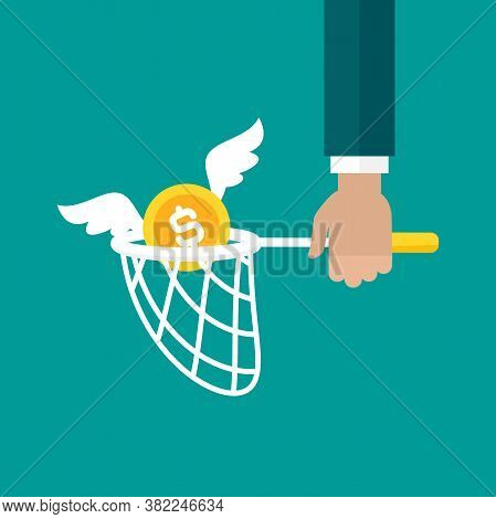 Butterfly Net And Golden Dollar Coin With Wings. Catch, Hunt, Chase Money Symbol.