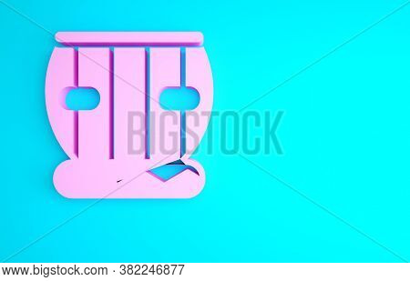 Pink Indian Musical Instrument Tabla Icon Isolated On Blue Background. Minimalism Concept. 3d Illust