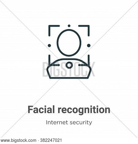 Facial recognition icon isolated on white background from internet security collection. Facial recog