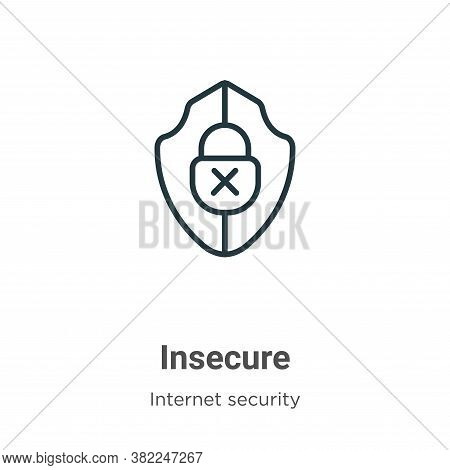 Insecure icon isolated on white background from internet security collection. Insecure icon trendy a
