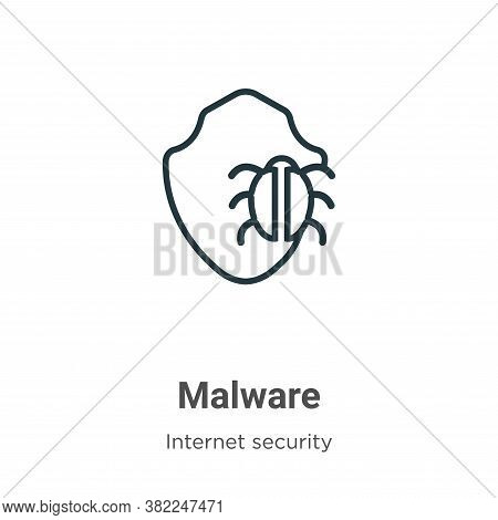 Malware icon isolated on white background from internet security collection. Malware icon trendy and