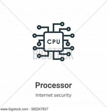 Processor icon isolated on white background from networking collection. Processor icon trendy and mo