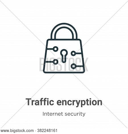 Traffic encryption icon isolated on white background from networking collection. Traffic encryption