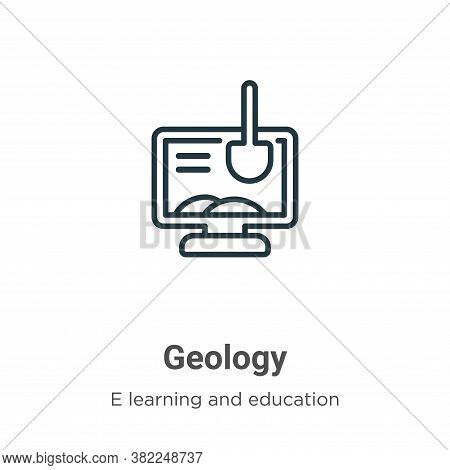 Geology icon isolated on white background from e learning and education collection. Geology icon tre