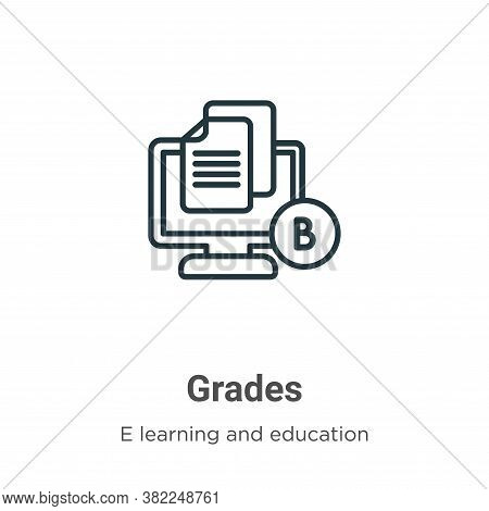 Grades Icon From E Learning And Education Collection Isolated On White Background.