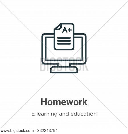 Homework Icon From E Learning And Education Collection Isolated On White Background.