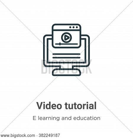 Video tutorial icon isolated on white background from e learning collection. Video tutorial icon tre