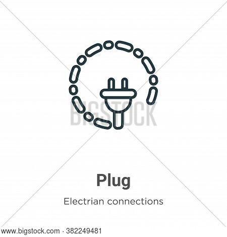 Plug icon isolated on white background from electrian connections collection. Plug icon trendy and m