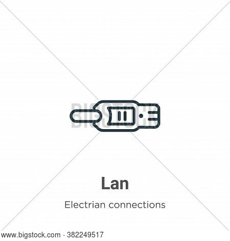 Lan icon isolated on white background from electrian connections collection. Lan icon trendy and mod