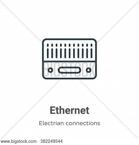 Ethernet icon isolated on white background from electrian connections collection. Ethernet icon tren