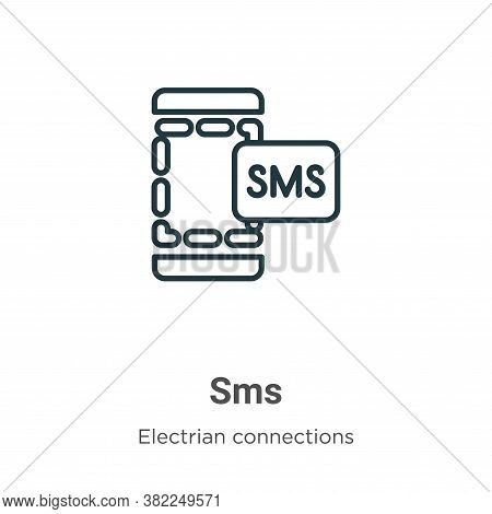 Sms icon isolated on white background from electrian connections collection. Sms icon trendy and mod