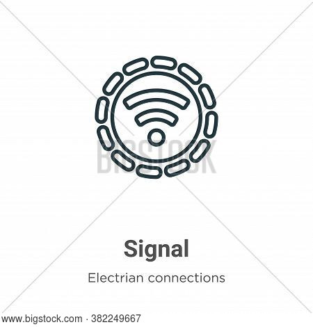 Signal icon isolated on white background from electrian connections collection. Signal icon trendy a