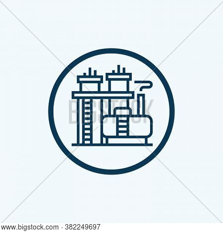 Oil Refinery Icon Isolated On White Background From Oil And Petroleum Industry Collection. Oil Refin
