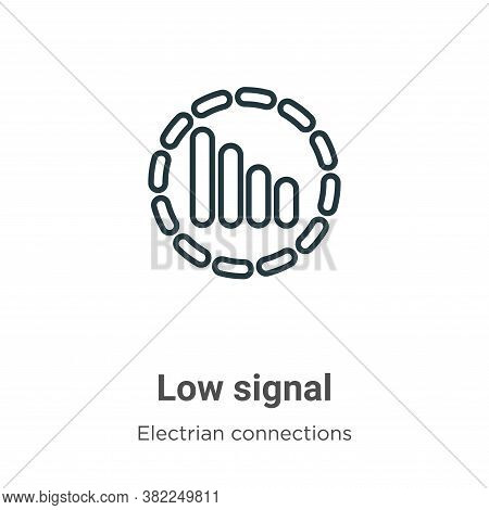 Low signal icon isolated on white background from electrian connections collection. Low signal icon