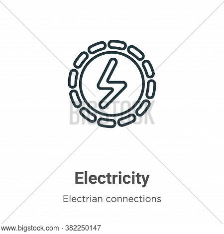 Electricity icon isolated on white background from electrian connections collection. Electricity ico