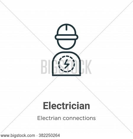 Electrician icon isolated on white background from electrian connections collection. Electrician ico