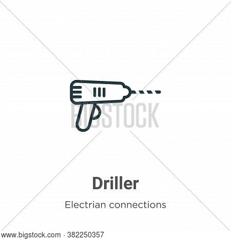Driller icon isolated on white background from electrian connections collection. Driller icon trendy
