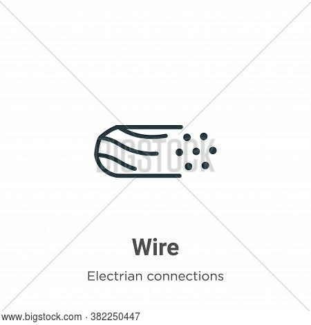 Wire icon isolated on white background from electrian connections collection. Wire icon trendy and m