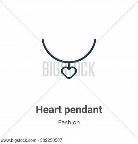 Heart pendant icon isolated on white background from fashion collection. Heart pendant icon trendy a