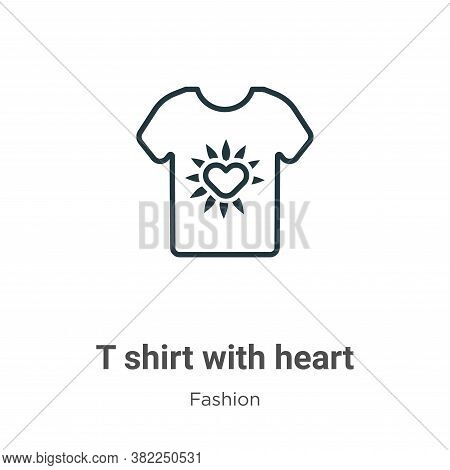 T shirt with heart icon isolated on white background from fashion collection. T shirt with heart ico