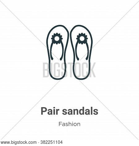 Pair sandals icon isolated on white background from fashion collection. Pair sandals icon trendy and