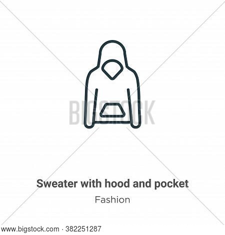 Sweater with hood and pocket icon isolated on white background from fashion collection. Sweater with