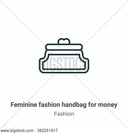 Feminine fashion handbag for money icon isolated on white background from fashion collection. Femini