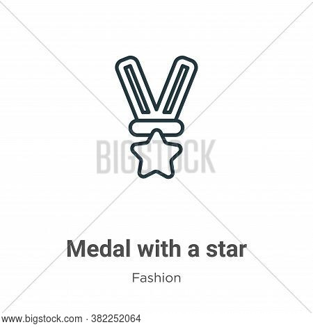 Medal with a star icon isolated on white background from fashion collection. Medal with a star icon