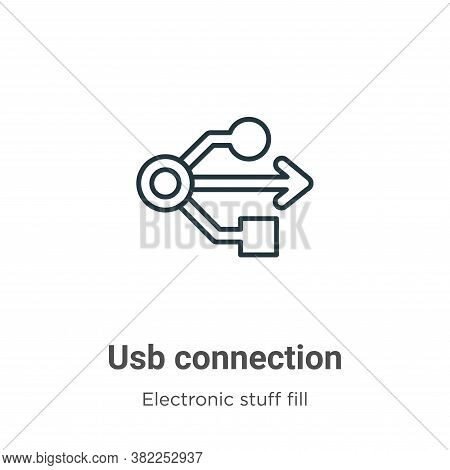 Usb connection icon isolated on white background from electronic stuff fill collection. Usb connecti