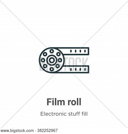 Film roll icon isolated on white background from electronic stuff fill collection. Film roll icon tr