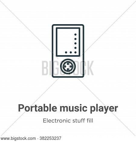 Portable music player icon isolated on white background from electronic stuff fill collection. Porta