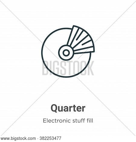 Quarter icon isolated on white background from electronic stuff fill collection. Quarter icon trendy