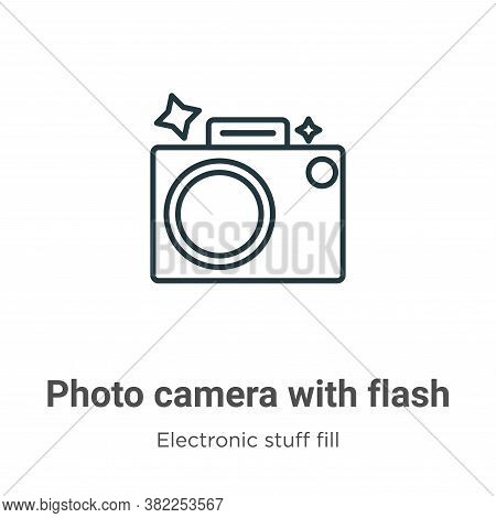 Photo camera with flash icon isolated on white background from electronic stuff fill collection. Pho
