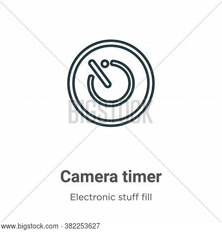 Camera timer icon isolated on white background from electronic stuff fill collection. Camera timer i