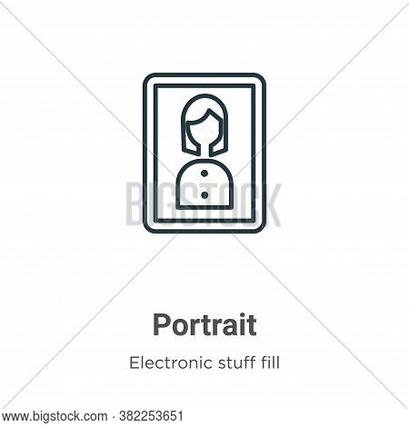 Portrait icon isolated on white background from electronic stuff fill collection. Portrait icon tren