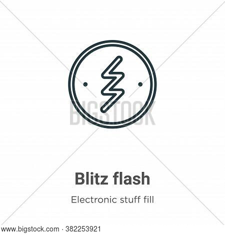 Blitz flash icon isolated on white background from electronic stuff fill collection. Blitz flash ico