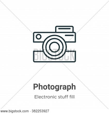 Photograph icon isolated on white background from electronic stuff fill collection. Photograph icon