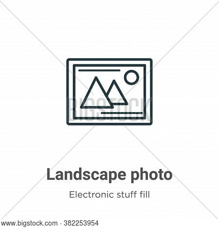 Landscape photo icon isolated on white background from electronic stuff fill collection. Landscape p
