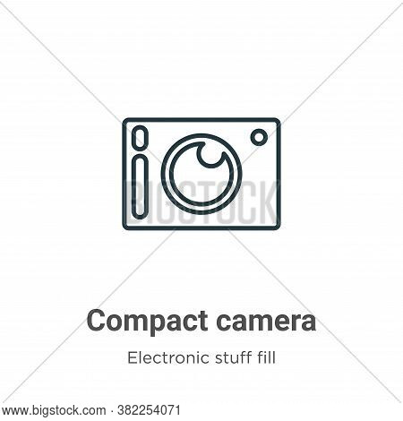 Compact camera icon isolated on white background from electronic stuff fill collection. Compact came