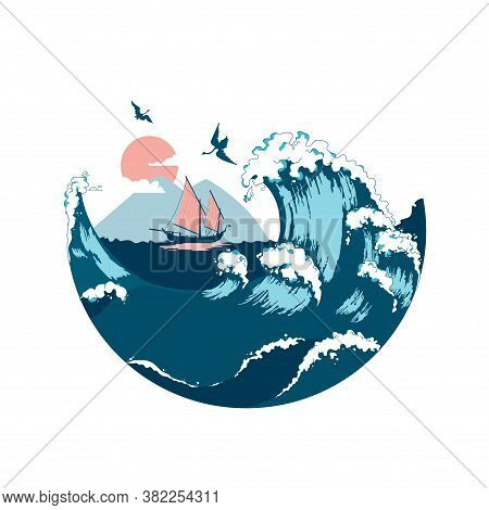 Junk Floating On The Sea Waves. View Of Mountain Fuji. Color Vector Flat Cartoon Illustration. Conce