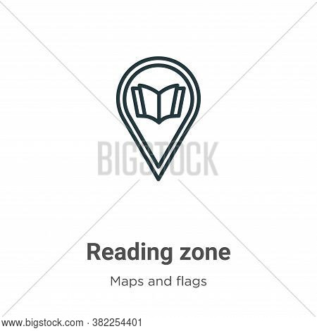 Reading zone icon isolated on white background from maps and flags collection. Reading zone icon tre