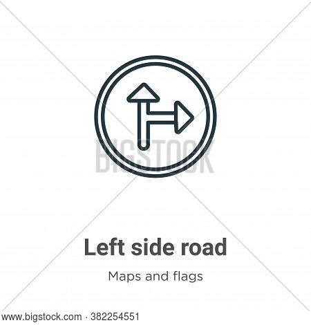 Left side road icon isolated on white background from maps and flags collection. Left side road icon