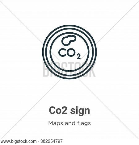 Co2 sign icon isolated on white background from maps and flags collection. Co2 sign icon trendy and